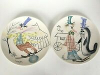 Set Of 2 Whimsical ITALY Mid Century Modern Art Pottery Circus Humorous Plates