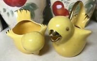 Vintage Vallona Starr California Pottery Yellow Chicks Creamer and Sugar
