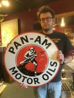pan am tire motor gasoline oil dealer porcelain sign  sign MAKE AN OFFER! 8