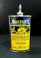 Vintage Marbles Handy Oiler W/ Camping Graphic Lead Top Old Gun Oil Can NICE