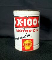 Vintage 1955-60 Shell X-100 Premium Severe Duty Motor Oil Old Tin Metal Can