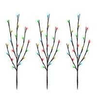 3 Pc Set Multi Color LED Lighted Twig Stake Indoor Outdoor Christmas Tree Decor