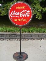 COCA COLA LOLLIPOP SIGN WITH BASE 2 SIDED PORCELAIN 1930 1940 Cok