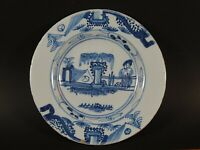 Antique 18th Century English or Dutch Delft Faience Small Plate with Figure