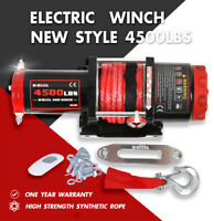 X-BULL Electric Winch 4500LBS 12V Synthetic Rope Tow Truck ATV UTV Offroad Boat