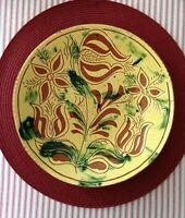 Lester Breininger  Redware Pottery decorated plate 10 1/4