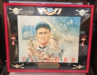 Vintage Seagrams 7 Baseball Ty Cobb Mirror Wall Hanging 1971 Sports Bar Poster
