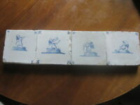 Four 17th C Dutch Delft Tiles With Angels