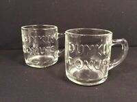 Anchor Hocking Vintage Embossed Dunkin Donuts Glass Coffee Tea Mugs Lot Pair