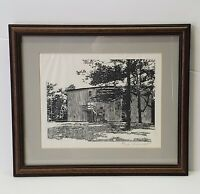 Dan Quest Original Woodcut Etching for Jack Daniels Distillery Framed and signed