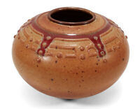 FINELY DECORATED PARROT RANCH STUDIO ART POTTERY VASE CARMEL VALLEY CALIFORNIA