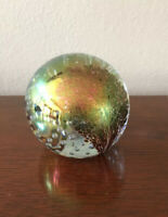 Glass Eye Studio Iridescent Round Paperweight Signed GES 93 Tree Design