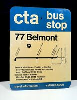Vintage 1960's 70's CTA Chicago #77 Belmont Ave. Bus Stop Oil Unusual Sign NICE