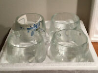 4 - Nestle Nescafe Glass World Set Clear Etched Glass Mug Tea Coffee Cup   .  j8