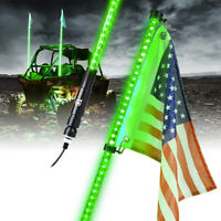 Xprite 5ft LED Whip Lights w/ Flag Antenna Green 12V for ATV UTV Offroad Buggy