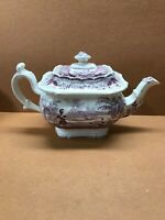Early T Mayer PURPLE Transferware Pattern 31 Teapot c 1830 Playing Outdoor Game