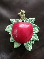 Vintage 1950's McCoy Pottery Red Apple on Green Leaf Wall Pocket