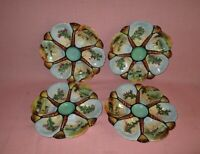 Antique Set of 4 Limoges France Porcelain Hand Painted Oyster Plates Sailboats