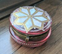 Antique Enameled Moser Cranberry Pink Glass Trinket Box with Gold Gilt Accents.