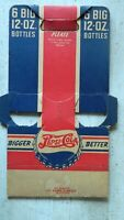 1940'S PEPSI-COLA DOUBLE DOT 6 BIG 12 OZ. CARDBOARD CARRIER RED/WHITE/BLUE PEPSI