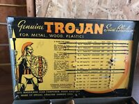 Vintage Genuine Metal Trojan Hardware Store Display Saw Blades Advertisement