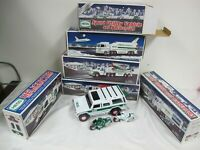 HESS TOY TRUCKS (6) HELICOPTER AIRPLANE FIRE SPACE SHUTLES  RACECARS MOTORCYCLES