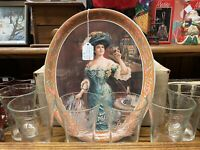 Vintage 1970's~Pepsi Cola~Gibson Girl Tray w/6 ~Victorian Style Glasses~Orig Box