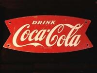 Original Coca Cola RARE Die Cut 1960s FISHTAIL SIGN 12