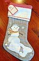 New w/ Tags POTTERY BARN KIDS Holiday Snowgirl Quilted STOCKING Gray