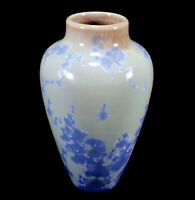 1995 RAY WEST CALIFORNIA STUDIO ART POTTERY VASE CRYSTALLINE GLAZE BLUE CRYSTALS