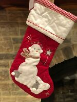 New w/ Tags POTTERY BARN KIDS Holiday Snow Girl Quilted STOCKING Red