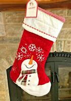 New w/ Tags POTTERY BARN KIDS STOCKING Snowman with Scarf Quilted Red Holiday