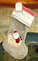 New w/ Tags POTTERY BARN KIDS Holiday Santa on Sleigh Quilted STOCKING Gray