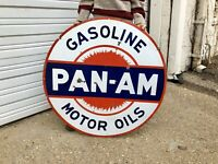 Original Porcelain Pan Am 42 In. Gasoline Double Sided Advertising Gas Oil Sign!