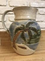 Pottery Large Vase/Pitcher Coconut Trees White Sand Beach Scenery