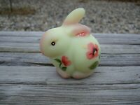 FENTON BUNNY WITH HAND PAINTED POPPYS ON BURMESE PRODUCED IN 2007