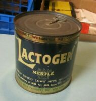 Vintage Nestle Lactogen UNOPENED One Pound Spray Dried Cows Milk Can with Key