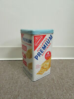 Vintage Nabisco Premium Saltine Crackers Tin w/ Lid English & Spanish Late 60s