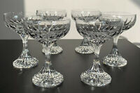 "6 SIGNED BACCARAT CRYSTAL MASSENA CHAMPAGNE SHERBET COUPE 5.5"" FRANCE STEMWARE"