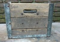 Vintage Metal Wood Milk Carrying Crate - RARE - Allegheny Cry - Jersey Shore, PA