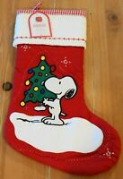 New Pottery Barn Kids QUILTED SNOOPY Peanuts Christmas Holiday Stocking - Red