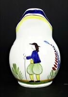 """Keraluc Quimper France 7"""" Pottery Drink Pitcher Hand Painted Peasant Man"""