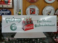 COCA COLA EMBOSSED SODA SIGN LICENSED PRODUCT MADE IN USA  6 PACK