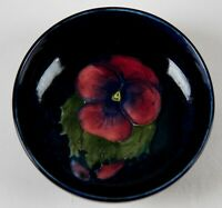 Moorcroft Pansy Flower Small Blue Footed Bowl 4.5