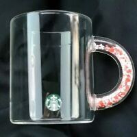 Starbucks 2020 Valentine's Day Hearts in handle Clear Glass 12oz Mug Limited Ed.