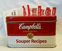 Vintage Campbell's Soup Souper Recipes Collectible Tin Box & Recipe Cards RED
