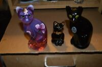 3 Fenton Hand Painted Cats