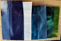 Stained Glass cutoffs sheets BLUE GREEN GRAY 6 piece lot