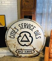 Porcelain Double Sided Cities Service Gas And Oil Sign 48 Inch Antique