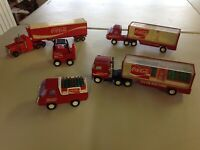 Coca Cola Buddy L Vintage Steel Trucks - Lot Of 5 With Toy Coke Bottles